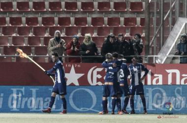 Jugadores del Alavés celebran un gol en Girona. / Foto: LaLiga