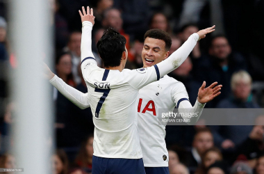 Dele Alli and Heung-Min Son celebrate Dele's opener v(ia Adrian Dennis-Getty Images)