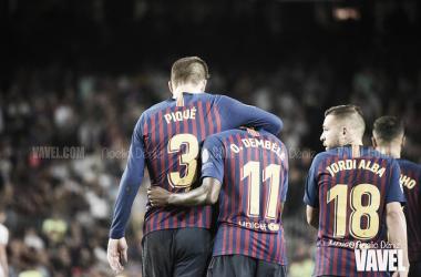 Foto de archivo de los jugadores del Barça celebrando un gol. FOTO: Noelia Déniz