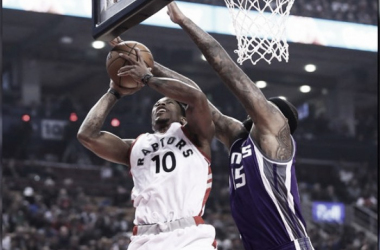 DeMar DeRozan is denied at the rim by DeMarcus Cousins. Photo: Tom Szczerbowski-USA Today Sports