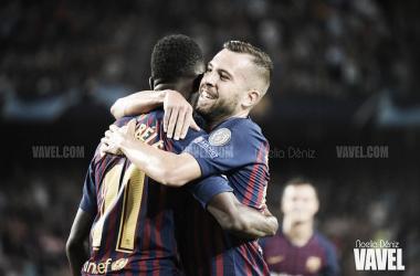 Alba y Dembélé, protagonistas del gol que inaguró el marcador ante el 'Lega' | Foto: Noelia Déniz - VAVEL