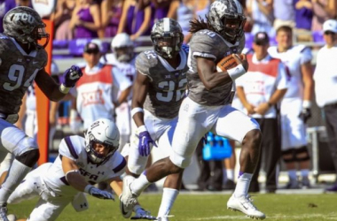 TCU Horned Frog safety Denzel Johnson runs back an interception for a touchdown in the second half of a 70-7 win over Stephen F. Austin. Photo Credit: Kevin Jairaj-USA TODAY Sports