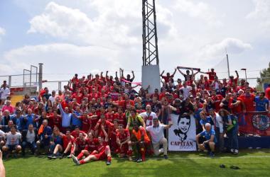 La celebración del CD Calahorra en Buñol (fuente CD Calahorra)