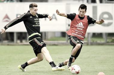 Hector Herrera e Hirving Lozano en entrenamiento con la selección mexicana   Foto @miseleccionmx