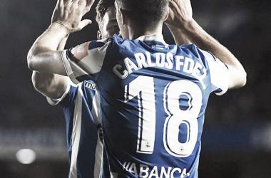 Carlos Fernández celebrando uno de los goles | Fotografía: La Liga