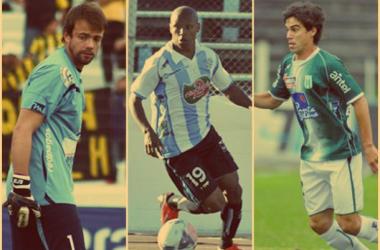 Burián, Acuña y Ezquerra vistiendo las camisetas de Juventud, Cerro y Racing, respectivamente (FOTO:pordeciralgo.com.uy)