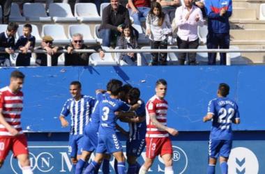 Los jugadores del Lorca celebran un gol | Foto: La Liga.