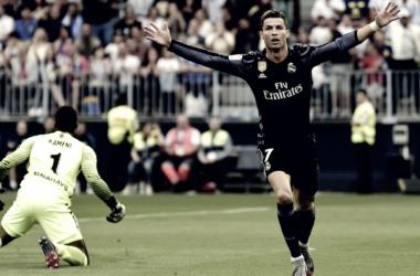 Cristiano Ronaldo celebrando gol ante el Málaga C.F | Foto: Real Madrid