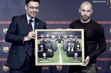 Mascherano recibió un emotivo homenaje. Foto: Infobae.