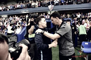 Rubi saludando al entrenador rival | Foto: LaLiga