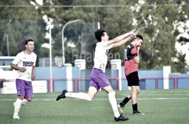 Ezequiel Amores celebrando el segundo gol (FOTO: Real Jaén)