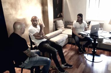 Jorge Sampaoli reunido a Javier Mascherano. Fuente: La Nación