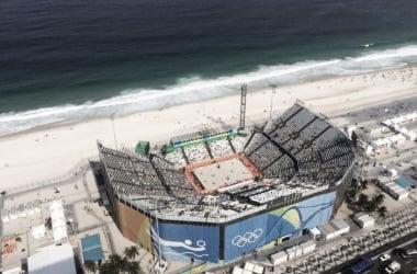 Mar, arena, playa y el Arena de Voleibol escenario del beach voley. Foto: Copacabana