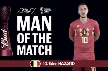 La estrella belga obtuvó el premio como mejor del partido. Fuente: FIFA.