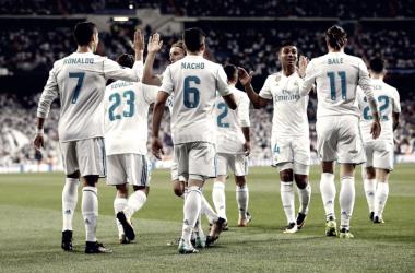 El equipo celebrando un gol | Foto: Real Madrid