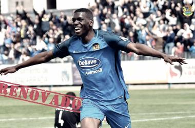 Randy celebrando un gol en el Fernando Torres / Foto: CF Fuenlabrada