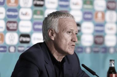 Didier Deschamps en la rueda de prensa tras el partido. / Imagen extraída de: fff.fr.
