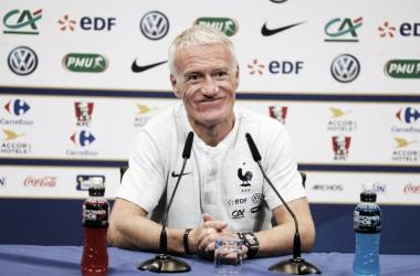 Didier Deschamps en rueda de prensa. Foto: FFF.