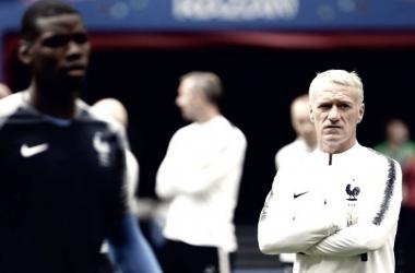 Didier Deschamps durante el entrenamiento. Foto: FFF.