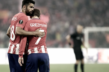 Diego Costa y Antoine Griezmann se abrazan | Foto: Ángel Gutiérrez, Atlético de Madrid