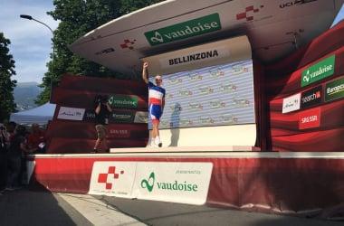 Arnaud Démare sul podio di Bellinzona. Fonte: Tour de Suisse/Twitter