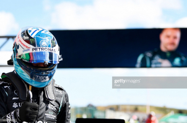 PORTIMAO, PORTUGAL - MAY 01: Pole position qualifier Valtteri Bottas of Finland and Mercedes GP celebrates in parc ferme after qualifying for the F1 Grand Prix of Portugal at Autodromo Internacional Do Algarve on May 01, 2021 in Portimao, Portugal. (Photo by Gabriel Bouys - Pool/Getty Images)