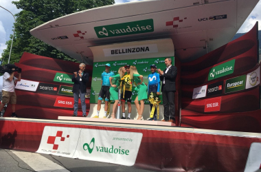 Il podio del Giro di Svizzera 2018: Richie Porte, Jakob Fuglsang e Nairo Quintana. Fonte. Tour de Suisse/Twitter