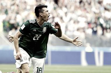 Hirving Lozano festeja su gol ante Alemania   Foto @miseleccionmx