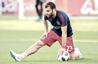 Nemanja Nikolic prior to kickoff. | Photo: Chicago Fire