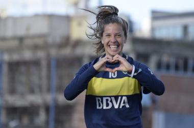 Ruth Bravo celebra un tanto conseguido en su etapa en Boca Juniors   Fotografía: Boca Juniors