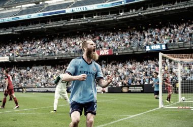 Jo Inge Berget celebrating his second goal of the night. | Photo: New York City FC