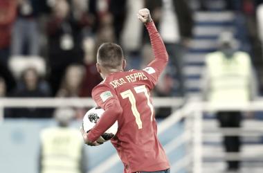 Iago celebra su primer gol anotado en el Mundial de Rusia 2018 | Fuente: Twitter SEFutbol