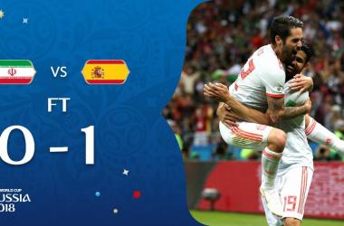 Diego Costa (29) e Isco (26) festeggiano il gol. Fonte: https://twitter.com/fifaworldcup