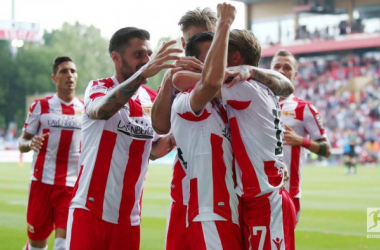 Union Berlin celebrate one of four goals in their first home match of the season. | Photo: Bundesliga.