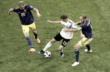 Jugada alemana en el encuentro.Foto: Selección Alemania