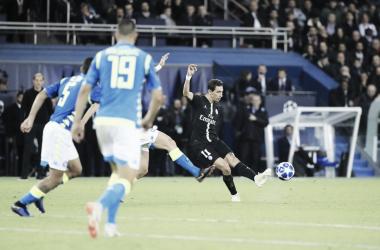 Di María dispara para el 2-2. Foto: Champions League.