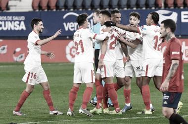 El Sevilla durante el gol De Diego Carlos ante el Osasuna / sevillafc.es