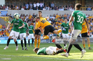 Diego Jota hitting the post in the second half in the one of the closest chances to breaking the deadlock. Image courtesy of Marc Atkins on Getty Images.