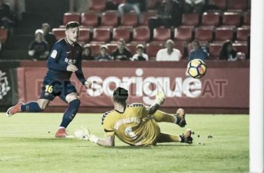 Stole Dimitrievski ha evitado el gol de los visitantes en dos ocasiones con manos prodigiosas | Foto: F.C. Barcelona