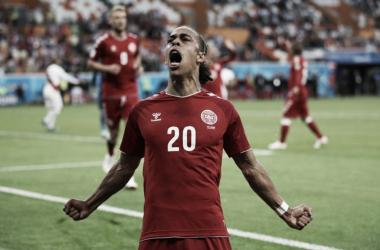 Poulsen autor del único tanto del partido (Foto: Sitio Oficial FIFA)