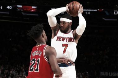 Carmelo Anthony foi o destaque da vitória dos Knicks anotando 23 pontos (Foto: Divulgação/NBA)