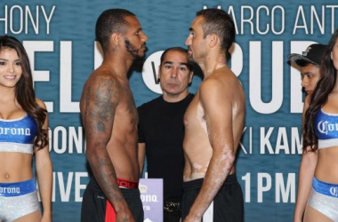 Anthony Dirrell and Marco Antonio Rubio look each other in the eyes ahead of their Texas contest. (Lucas Noonan / Premier Boxing Champions)