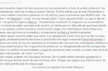 'Cuqui' Márquez pidió disculpas a los hinchas de Belgrano