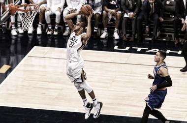 Com 35 pontos e 13 rebotes, Rudy Gobert foi o líder do Jazz na vitória contra o Knicks (Foto: Divulgação/NBA)