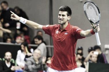 Djokovic comemorou após jogo duro contra Kukushkin. (Foto: Gatto Luigi)