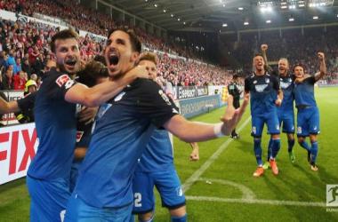 L'esultanza di Uth, autore del 3-2 per l'Hoffenheim. Foto: Bundesliga Twitter