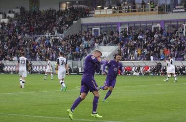 Köpke celebrates his goal. | Photo: Erzgebirge Aue.