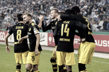 La festa dei giocatori del Dortmund. Foto: Twitter Borussia Dortmund