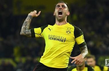 PacoAlcácer celebrates opening his Borussia Dortmund account.   Photo: Bundesliga.