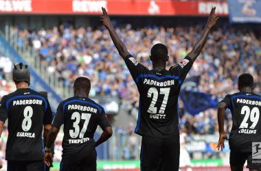 Babacar Gueye celebrating the first of five Paderborn goals.   Photo: Bundesliga.